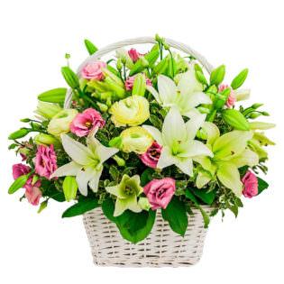 Цветы в корзинке «Весеннее настроение»