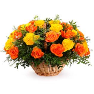 Цветы в корзинке «Закат»